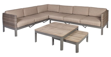 Home4you Admiral Corner Sofa And 2 Tables Set Light Brown