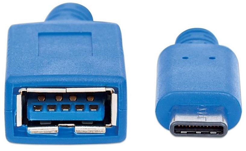 Manhattan Adapter USB C to USB A Blue 0.15m