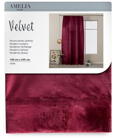 AmeliaHome Velvet Pleat Curtains Wine 140x245cm
