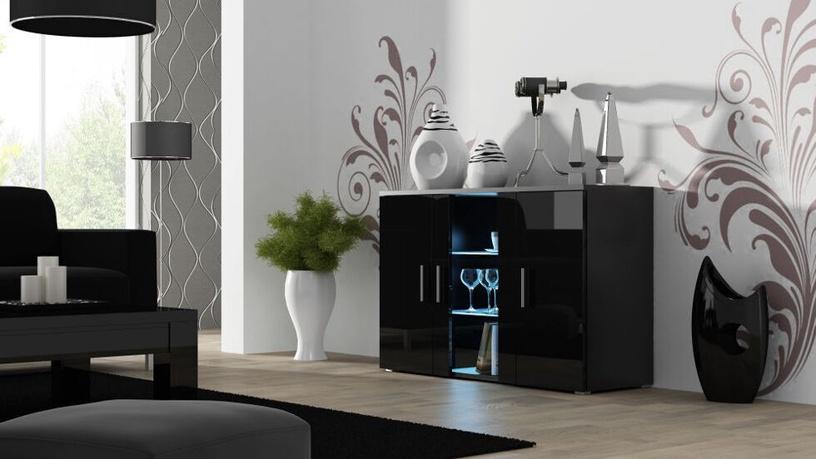 Komoda Cama Meble Soho Black/Black Gloss, 120x41x80 cm