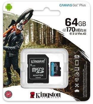 Kingston Canvas Go! Plus 64GB microSDXC UHS-I Class10 w/Adapter