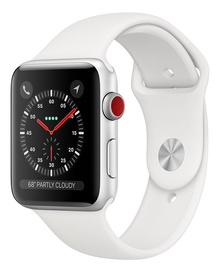 Apple Watch Series 3 38mm GPS + Cellular Silver Aluminum White Band