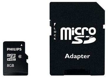 Philips Micro SD Card 8GB + Adapter FM08MP45B
