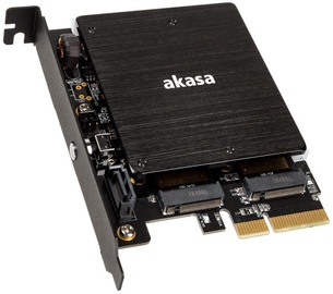 Akasa PCIe to 2 x M.2 SSD Adapter Card With Heatsink Cooler RGB LED Light