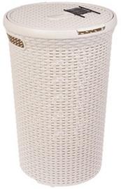 Skalbinių krepšys Curver Rattan Style Round, 48 l, Kreminės spalvos