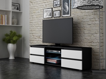 TV galds Pro Meble Milano 150 With Light Black/White, 1500x350x420 mm