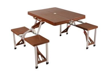Foldable Picninc Table with Chairs Brown