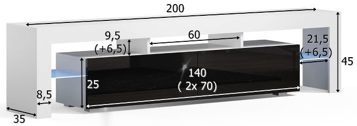 TV galds Pro Meble Milano 200, balta/pelēka, 2000x350x450 mm