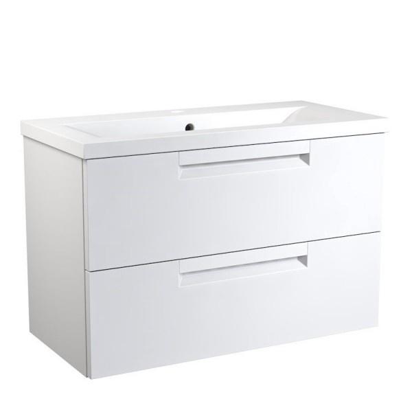 Apatinė spintelė su praustuvu 81 cm, 2 stalčiai, matinė balta