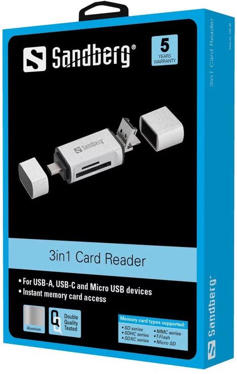 Картридер Sandberg Card Reader USB-C+USB+MicroUSB