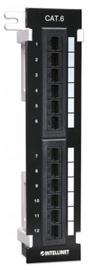Intellinet Patch Panel UTP CAT 6 RJ45 x 12 Black