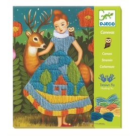 Djeco Needlework Wool Drops Stich Dress Canvas