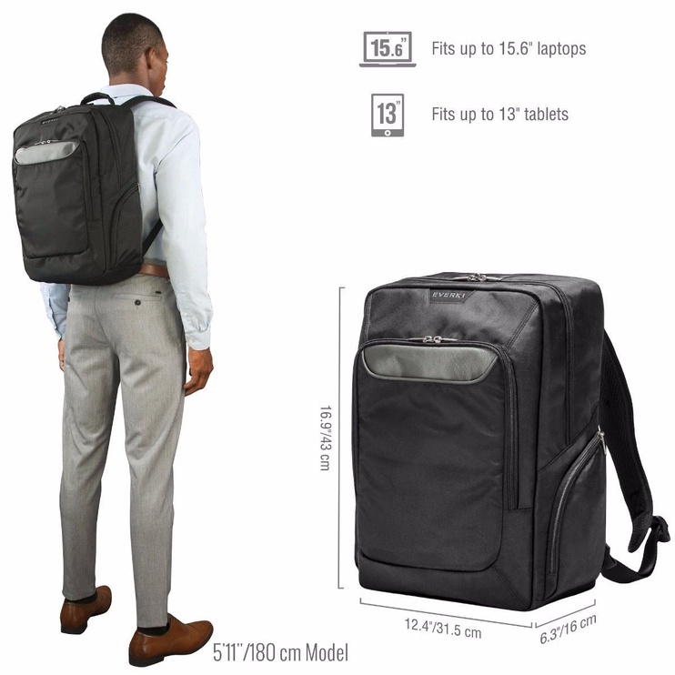 Everki Advance Laptop Backpack 15.6'' Black
