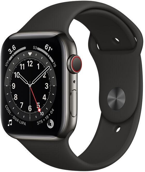 Умные часы Apple Watch Series 6 GPS LTE 44mm Stainless Steel, черный