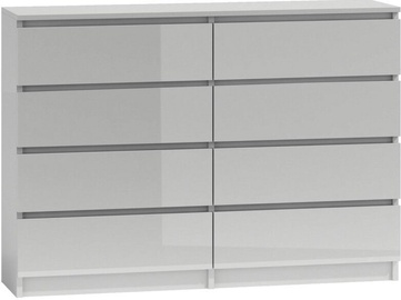 Top E Shop Malwa M8 Chest of 8 Drawers 140cm Gloss White