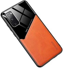 Чехол Mocco Lens Leather Back Case Apple iPhone 12, черный/oранжевый