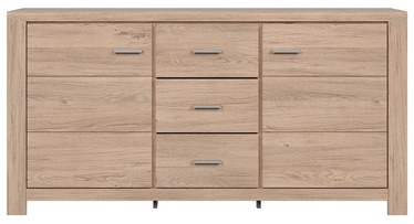 Black Red White Luttich Chest Of Drawers 167x86cm Oak