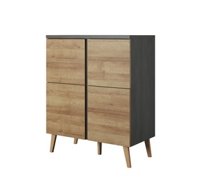 Idzczak Meble Laos 02 4D Chest Of Drawers Black Pine/Riviera Oak