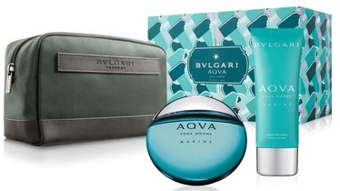 Bvlgari Aqva Marine 100ml EDT + 100ml Aftershave Balm + Cosmetic Bag