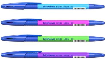 ErichKrause Ballpoint Pen R-301 Neon Stick&Grip 0.7mm Blue