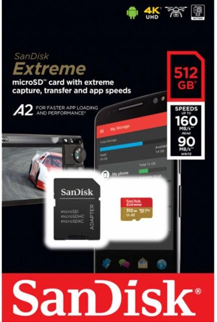 Карта памяти SanDisk Extreme 512GB microSDXC UHS-I U3 + SD Adapter