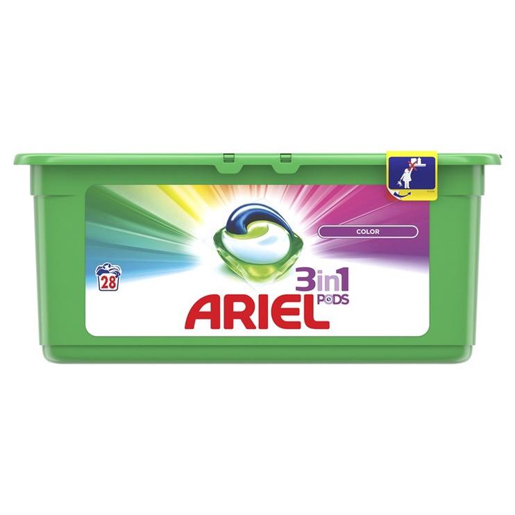 Skalbimo kapsulės Ariel Color 3 in 1, 28 vnt.