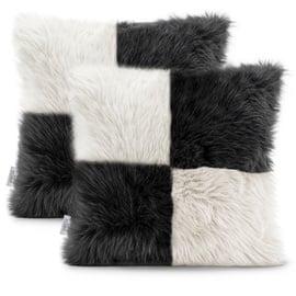 AmeliaHome Nancy Hair Pillowcase 45x45 White/Black 2pcs