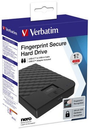"Verbatim Fingerprint Secure 2.5"" USB Type-C 2TB"