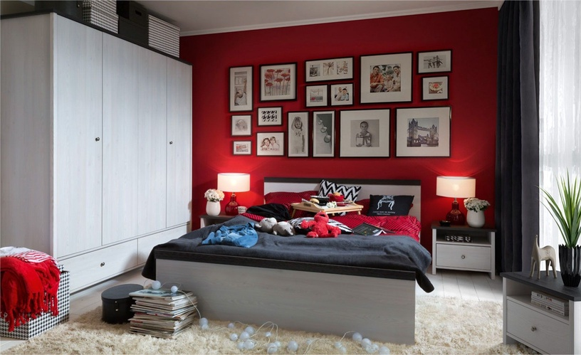 Black Red White Porto Night Stand 40x68cm Black/White