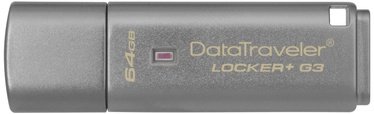 USB atmintinė Kingston DataTraveler Locker+ G3, USB 3.0, 64 GB