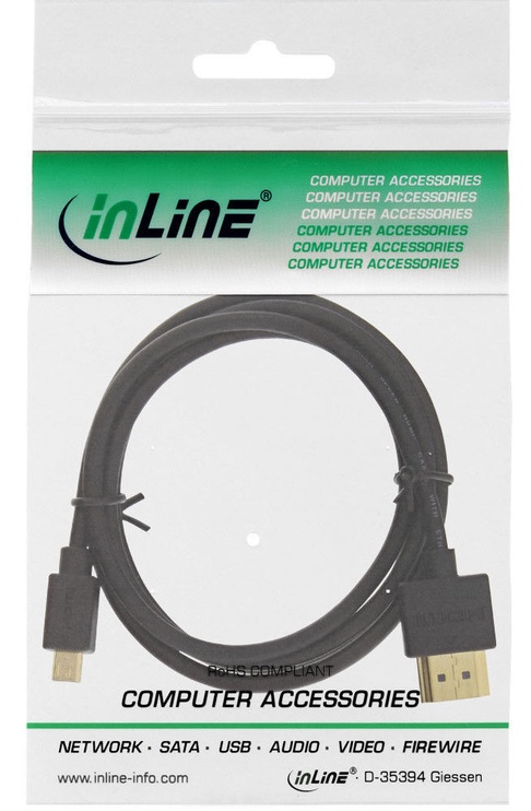 Juhe InLine Superslim 4K UHD Cable HDMI To Micro HDMI 0.5m Black
