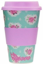 Tesoro 100% Eco Bamboo Fibre Mug With Silicone 480ml Flower Pink