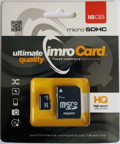 Карта памяти IMRO MicroSDHC Class 4 + Adapter, 16 GB