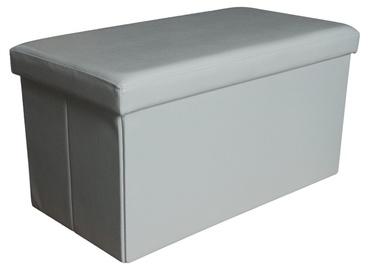 Pufas su daiktadėže, balta, 76.5 x 40.5 x 40.5 cm