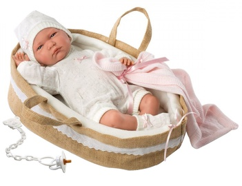 Llorens Doll Newborn Lala In Basket 42cm 74044