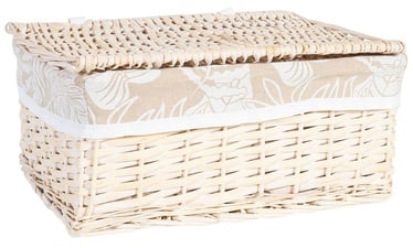 Home4you Willi Leaf Basket With Lid L 42x33xH20cm Light Brown