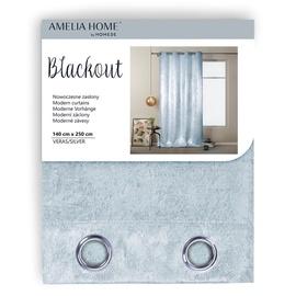 AmeliaHome Blackout Veras Curtains Silver 140x250