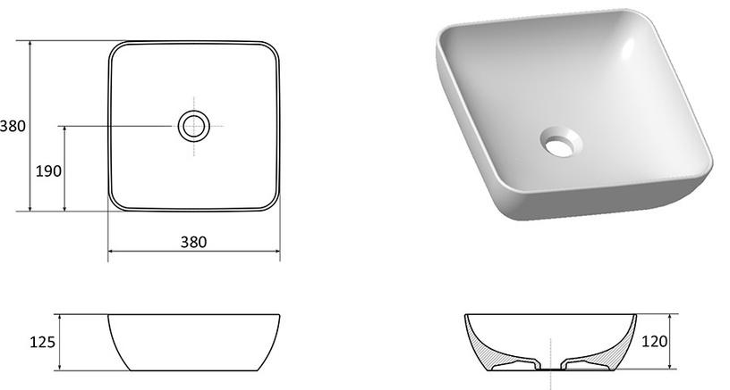 Ravak Uni Slim 380 S Washbin White