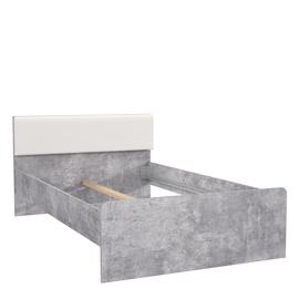 Gulta Forte Canmore, balta/pelēka, 204x127 cm, ar matraci, ar režģi