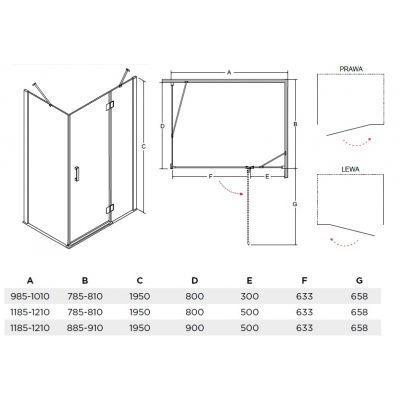 Dušo kabina VIVA, kampinė, 120 x 80  195 cm