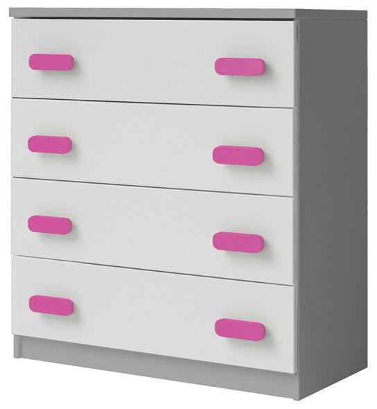 Kumode Idzczak Meble Smyk II 02 4S Grey/Pink, 80x40x93 cm