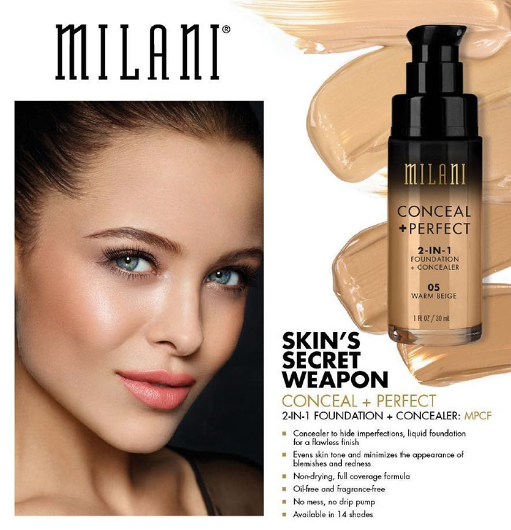 Milani Conceal + Perfect 2in1 Foundation + Concealer 30ml 00AA