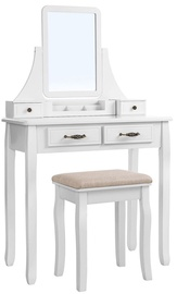 Kosmētikas galds Songmics, balta, 80x40x137.5 cm, with mirror