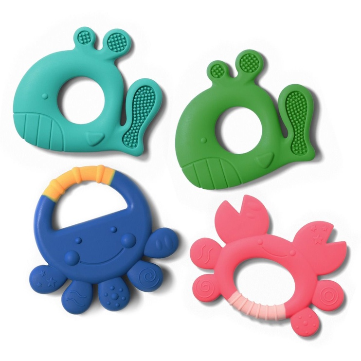 BabyOno Silicone Teether Whale Pablo Mint
