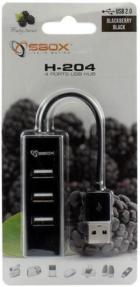 USB-разветвитель (USB-hub) Sbox H-204 4 Ports USB Hub Black