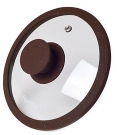 Fissman Arcades Lid With Marble Silicone Rim Dark Brown D16cm