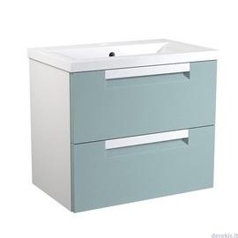 Apatinė spintelė su praustuvu 61 cm, 2 stalčiai, jūrinė mėlyna / matinė balta