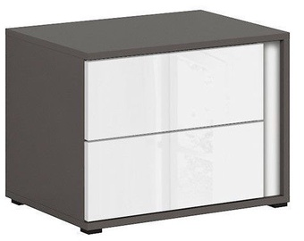 Black Red White Graphic Night Stand Right White/Wolfram Grey