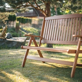 Folkland Timber Folding Garden/Terrace Bench Bavaria Brown Nut