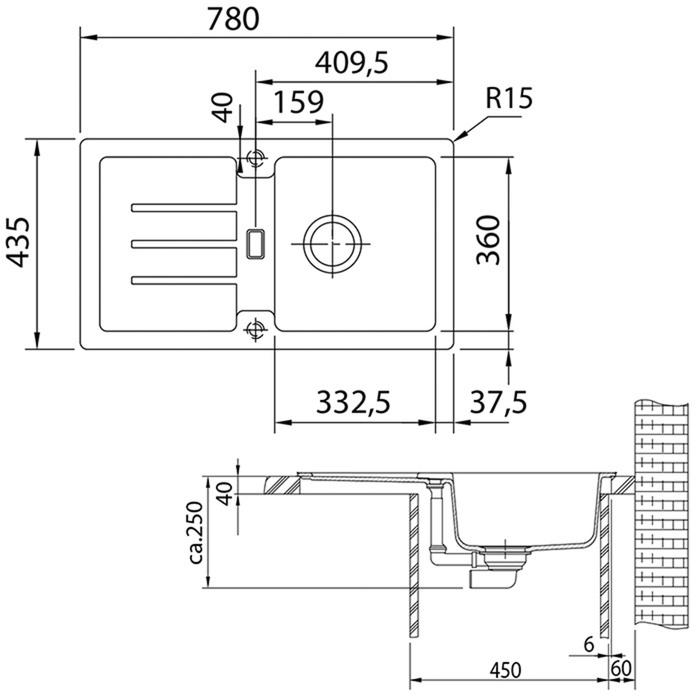 Раковина Franke STG 614-78, 780 мм x 435 мм x 250 мм